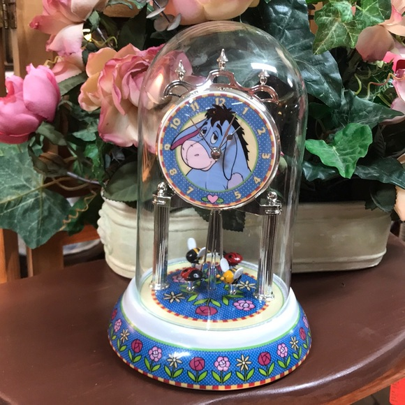 Glass Dome Disney Eeyore Anniversary Clock